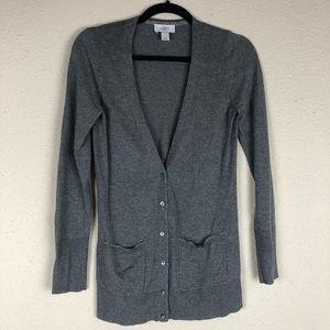 Loft Grey Knit Cardigan With Metallic Accents